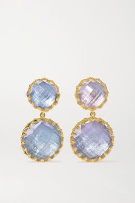 Larkspur & Hawk Olivia Small Day Night 18-karat Gold-dipped Quartz Earrings