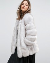 Jayley Luxurious Stripe Faux Fur Jacket