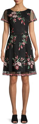 Adrianna Papell Floral Bouquets Embroidered Flare Dress