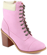 Pink Chunky Heel Ankle Boot