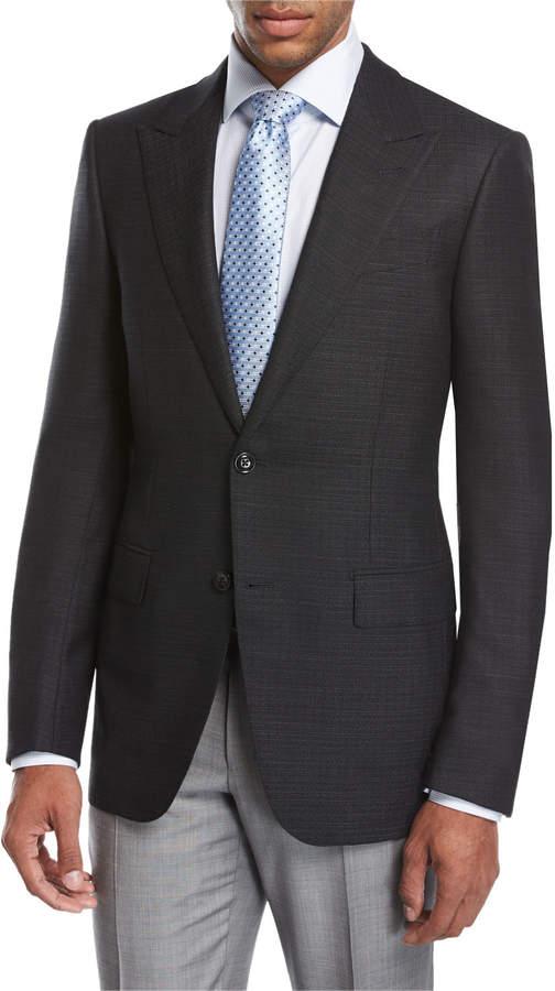 Ermenegildo Zegna Textured Wool-Silk Peak-Lapel Sport Coat, Black
