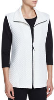 Caroline Rose Diamond-Quilted Zip-Front Vest, White