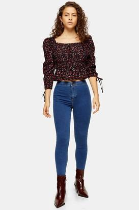 Topshop Womens Petite Mid Blue Joni Jeans - Mid Stone
