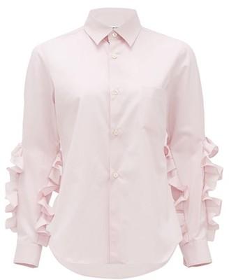 Comme des Garcons Ruffled Cotton-poplin Shirt - Womens - Light Pink