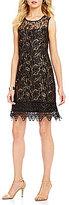 Cupio Sleeveless Crochet/Lace Trapeze Dress