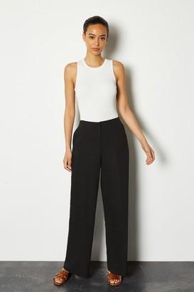 Karen Millen Essential Cotton Sateen Wide Leg Trousers