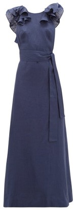 Kalita Eros Waist-tie Ruffled Linen Maxi Dress - Navy