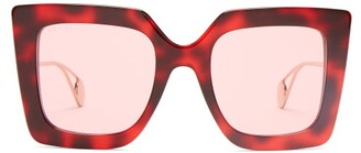 Gucci Oversized Square Acetate Sunglasses - Womens - Red