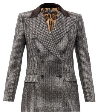 Dolce & Gabbana Double-breasted Velvet-collar Wool-blend Jacket - Grey Multi