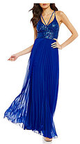 B. Darlin Sequin Bodice Pleated Long Dress