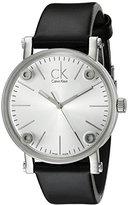 Calvin Klein Women's K3B231C6 'Congent' Silver Dial Black Leather Strap Swiss Quartz Watch