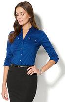 New York & Co. 7th Avenue - Madison Stretch Shirt - Double Flap-Pocket - Royal Blue