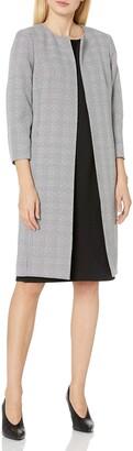 Le Suit LeSuit Women's Large Plaid Tweed Topper & Seamed Sheath Dress Suit
