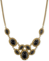 2028 Gold-Tone Black Stone Ornate Statement Necklace