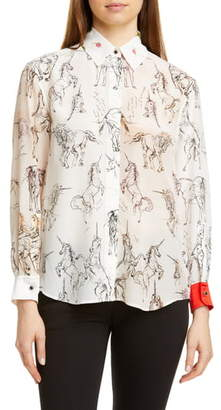 Burberry Lucinda Unicorn Sketch Mulberry Silk Shirt