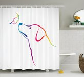 Ambesonne Dog Lover Decor Collection, Image of a Labrador with Butterfly Miracle of the Planet Earth Friend Universe Illustration, Polyester Fabric Bathroom Shower Curtain Set, 75 Inches Long, Multi