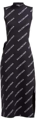 Balenciaga Logo Print Ribbed Wrap Midi Dress - Womens - Black Multi