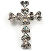 Avalaya Clear Swarovski Crystal Cross Brooch ( Tone)