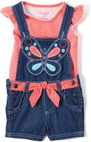 Nannette Coral Dot Angel-Sleeve Top & Shortalls - Infant Toddler & Girls