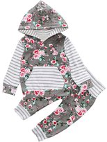 Baby Outfits Set,Doinshop 2PCS Kids Girl Floral Hoodie with Stripe Kangaroo Pockets+Pants