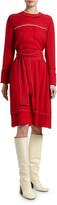 Marni Crepe Satin Long-Sleeve Dress