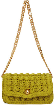 Bottega Veneta Green Crochet Shoulder Bag