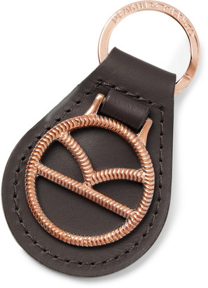 Kingsman Deakin & Francis Leather and Rose Gold-Plated Key Fob - Men - Brown