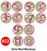 GIRL MOD MONKEYS Baby Month Onesie Stickers Baby Shower Gift Photo Shower Stickers, baby shower gift by OnesieStickers
