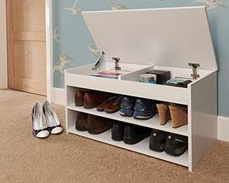 Camilla And Marc Home Source Hallway Shoe Storage Bench with Lift-up Lid, MDF/Chipboard, White, 40.5 x 79.5 x 39.5 cm