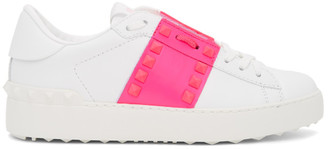 Valentino White and Pink Garavani Rockstud Untitled Open Sneakers