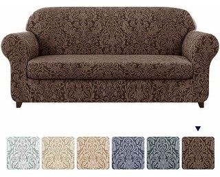 Overstock Subrtex 2-Piece Stretch Sofa 4 Seat Cover Jacquard Damask Slipcover