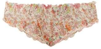 Loup Charmant Ruffled Liberty Print Cotton Briefs - Womens - Pink