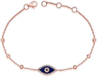 Sabrina Designs 14K Rose Gold 0.16 Ct. Tw. Diamond & Lapis Evil Eye Bracelet