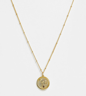 Reclaimed Vintage inspired 14k gold plate leo star sign coin necklace