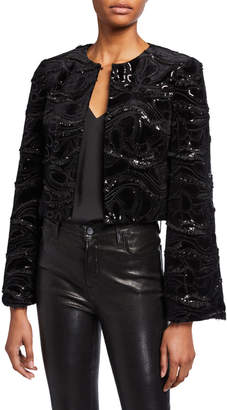 Badgley Mischka Sequin Embellished Velvet Bolero Jacket