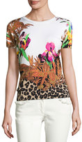 Etro Floral & Animal-Print Short-Sleeve Sweater, White/Black