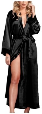 iCollection Women's Long Satin Robe with Lace Cuffs