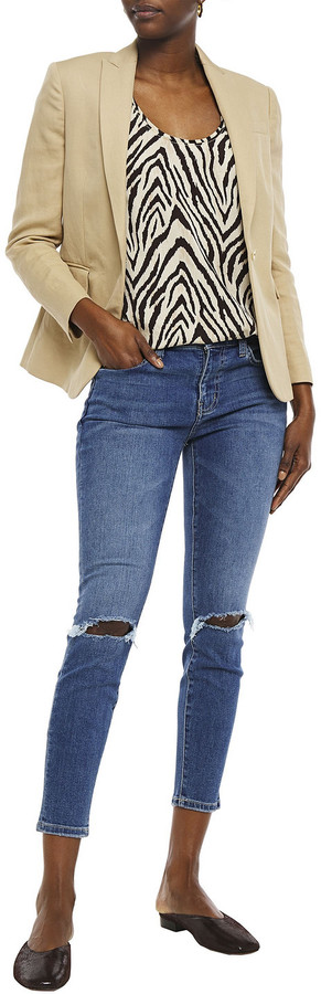Thumbnail for your product : Current/Elliott The Stiletto Cropped Distressed Mid-rise Skinny Jeans