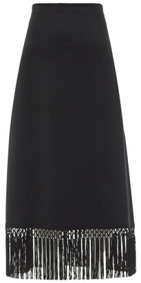 Andrew Gn Fringed Crepe Midi Skirt - Black