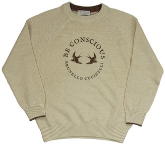 Brunello Cucinelli Linen And Cotton Sweater With Raglan Sleeves And Print
