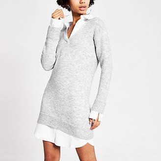 River Island Grey knitted long sleeve shirt jumper dress