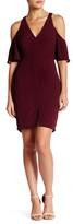 Astr Cold Shoulder V-Neck Silk Blend Dress