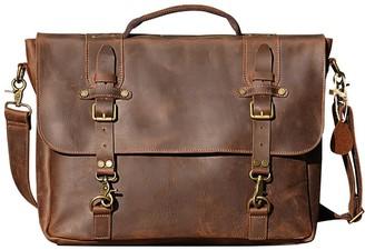Touri Vintage Look Genuine Leather Messenger In Russet Brown