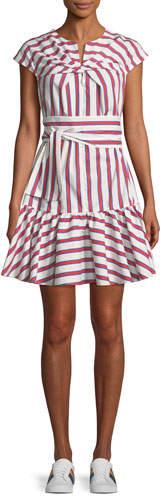 MSGM Twist-Front Belted Striped Cotton Shirtdress
