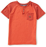 Lucky Brand Big Boys 8-20 Henley Short Sleeve Double Heather Jersey Tee