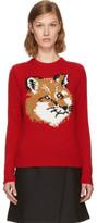 MAISON KITSUNÉ Red Lurex Fox Head Sweater