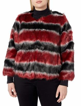 Rachel Roy Women's Plus Size Stripe Fur Coat