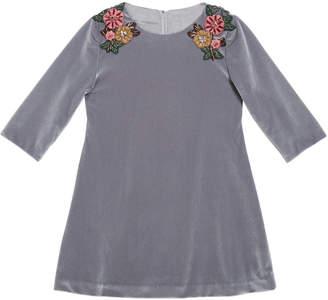 Isabel Garreton 3/4-Sleeve Beaded Velvet Dress, Silver, Size 6-8