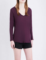 James Perse Scoop-neck long-sleeved cotton-jersey top