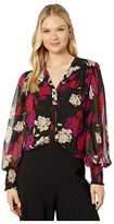 Vince Camuto Long Sleeve Smocked Cuff Enchanted Floral Blouse (Tulip Red) Women's Blouse